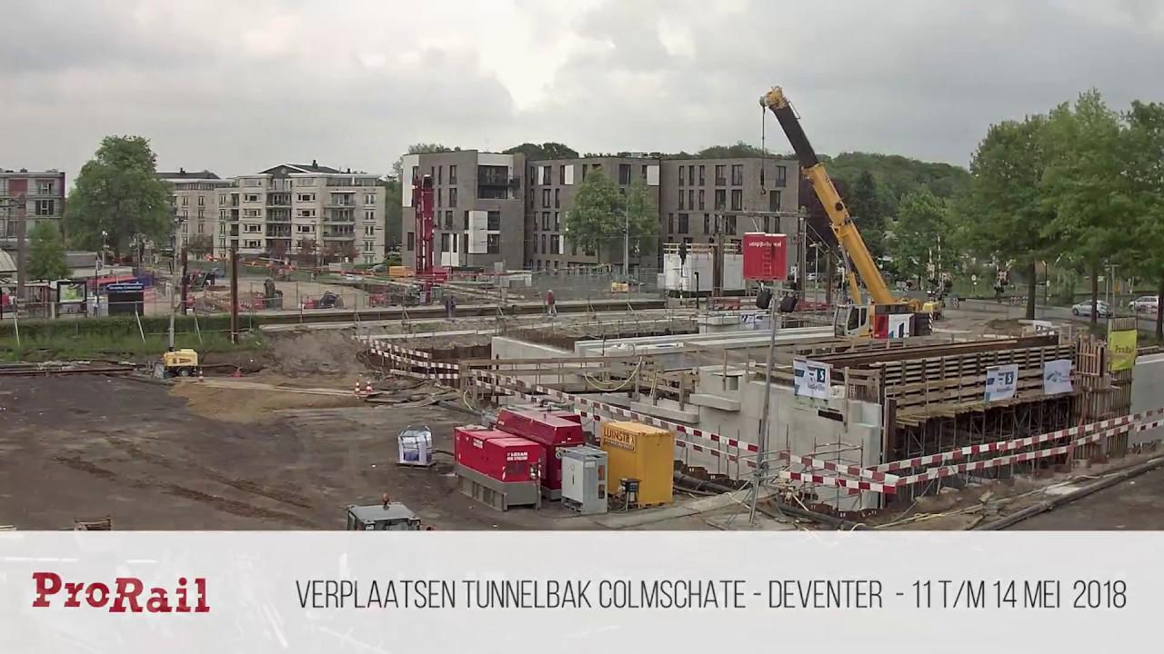 Timelapse: verplaatsing tunnel Oostriklaan bij station Deventer Colmschate