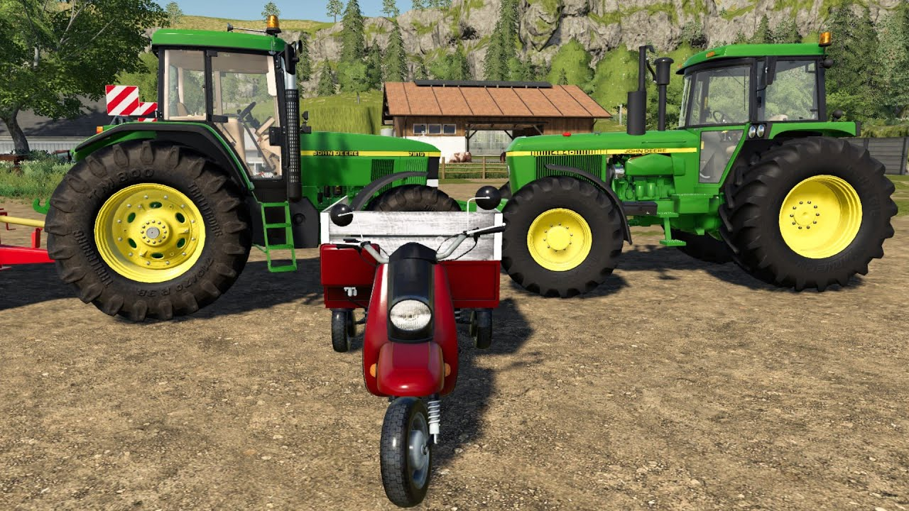 Tuk Tuk on the Farm - Tractor John Deere and buying pigs | Feeding farm animals LS19 TJD & JCB