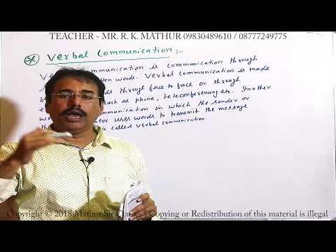 Verbal communication communication | Business Communication | Business Studies | Mathur Sir Classes