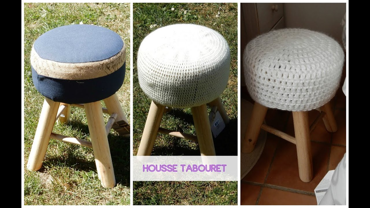 diy fran ais tuto housse tabouret au crochet faire soi. Black Bedroom Furniture Sets. Home Design Ideas