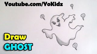 How to draw a Ghost step by step for kids for Halloween 2016