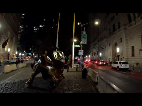 ⁴ᴷ⁶⁰ Cycling in NYC at Night from the Charging Bull (Financial District) to Queens via Waterfront