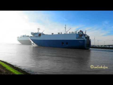 car carrier City of Amsterdam MYEU8 IMO 9174751  outbound Emden RoRo cargo seaship Autotransporter