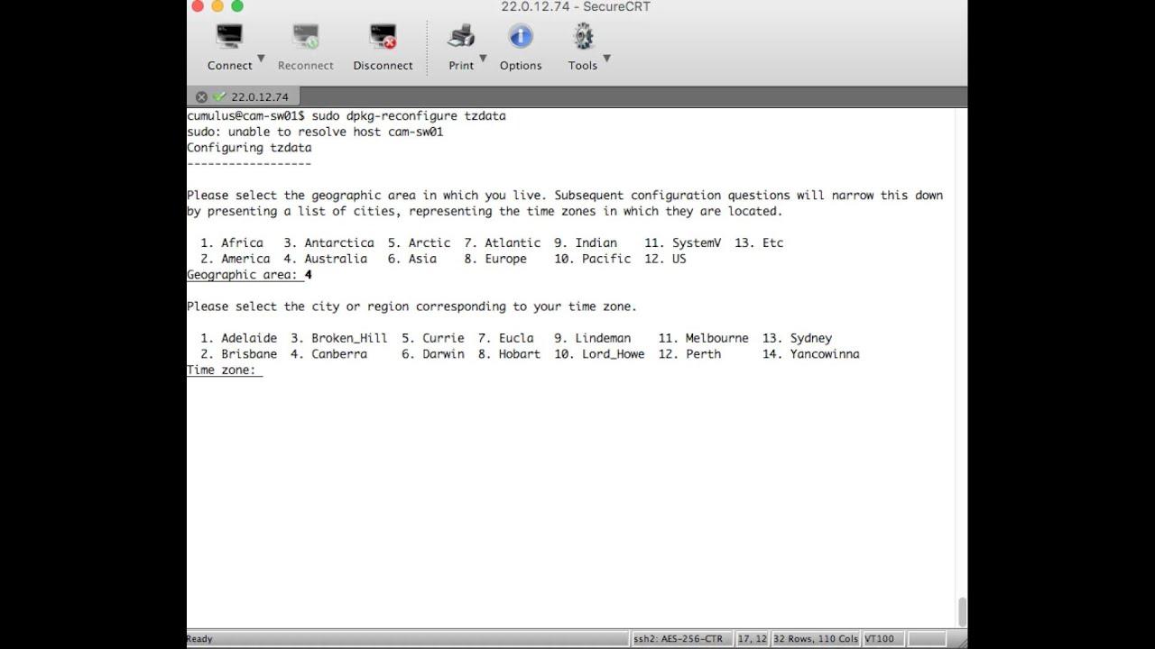 configure timezone on cumulus linux