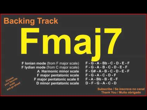 Fmaj7 Chord F7m Backing Track With Scale Suggestions Youtube