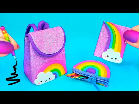 DIY Miniature School Supplies That Work! 🌈 Rainbow