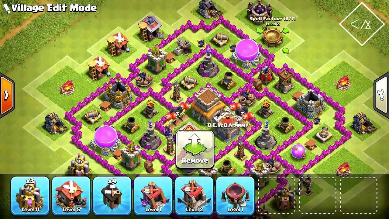 Clash Of Clans Best Town Hall 8 Defence Base Layout 2016 Youtube