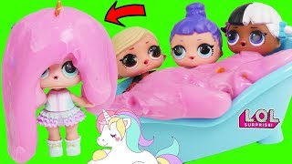 LOL Surprise Unicorn Slime in the pool prank with toddlers anna