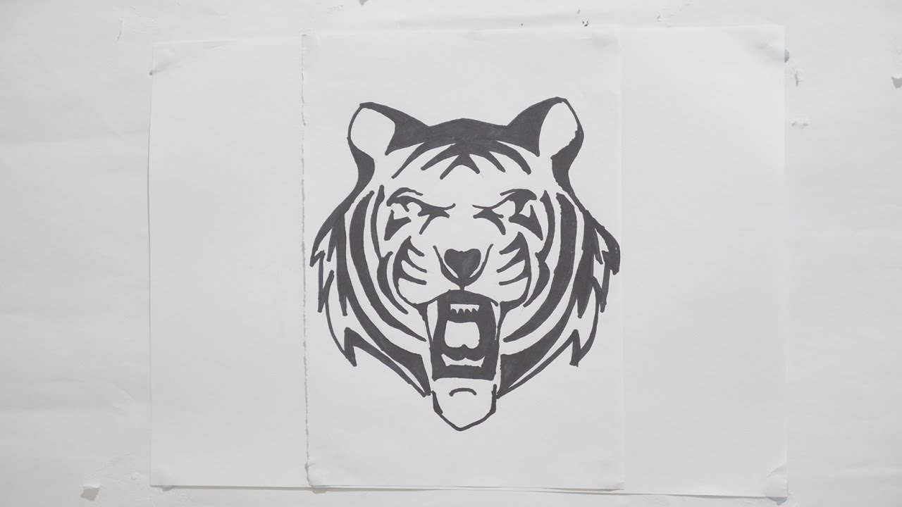 Ep 116 How To Draw Tiger Head Tribal Tattoo Design Youtube