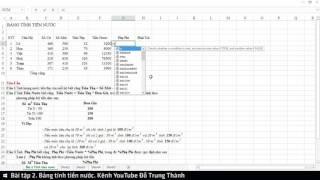Bài tập 2. Bảng tính tiền nước (Microsoft Excel 2016)