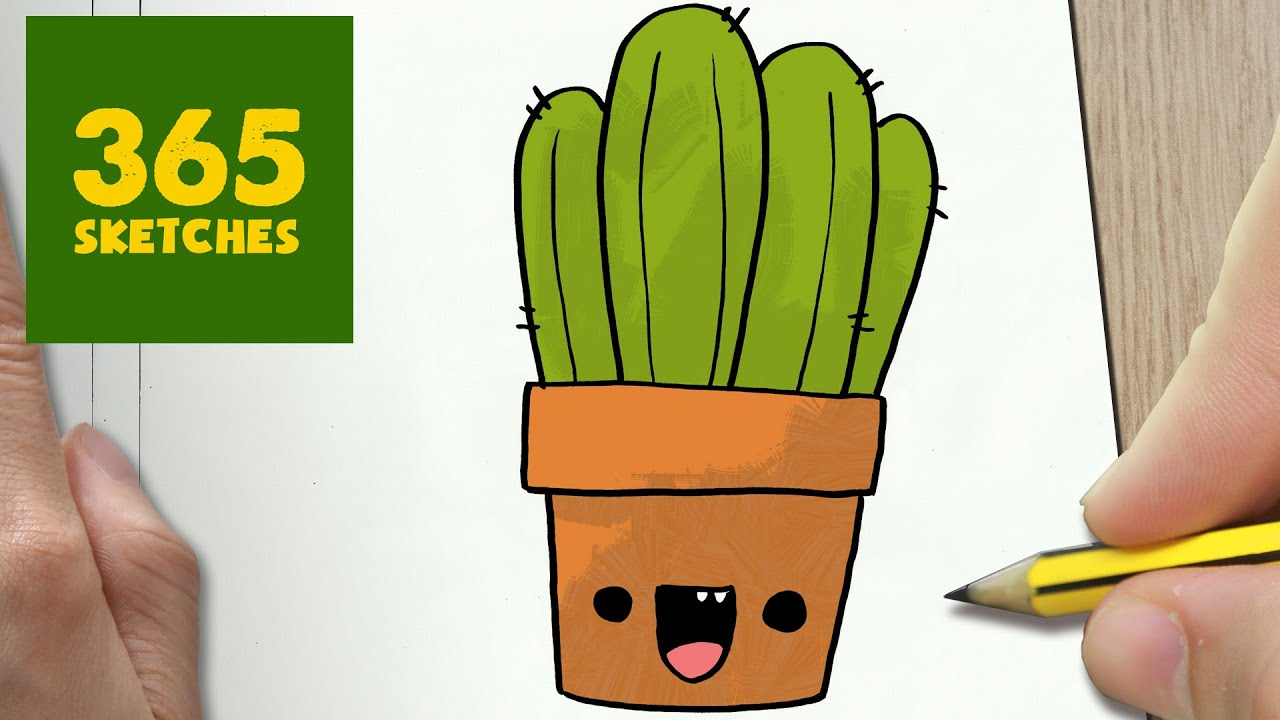 HOW TO DRAW A CACTUS CUTE, Easy step by step drawing lessons for ...