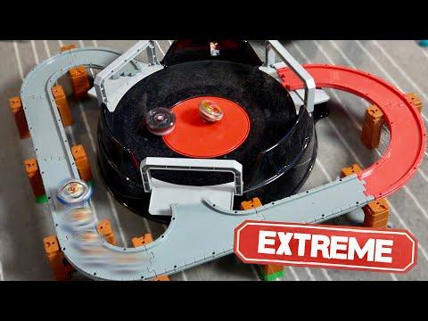 EPIC Beyblade Burst Turbo RAIL STADIUM MOD! ANIME STADIUM VS REAL LIFE