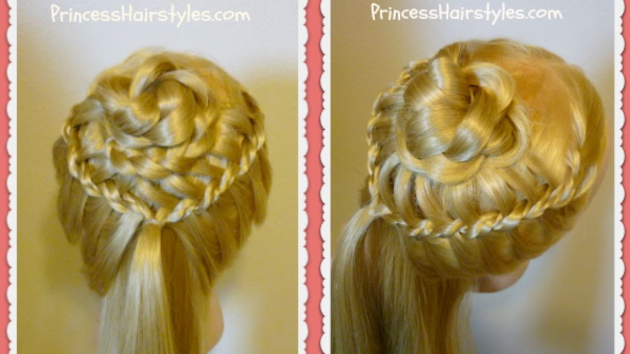 Braided Flower Corsage Hairstyle Wedding Prom Princess