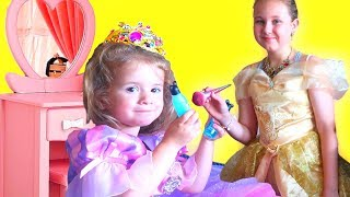 Ruby & Bonnie PRINCESS Dresses and MAKE-UP Routine Pretend Play