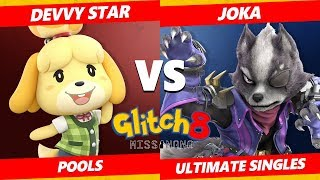 Glitch 8 SSBU - Devvy Star (Isabelle) Vs. Joka (Wolf) Smash Ultimate Tournament Pools