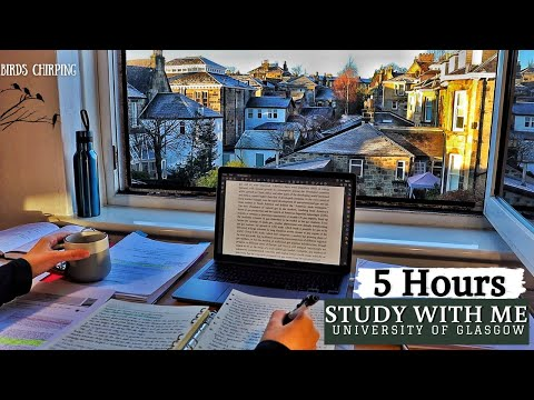 5 HOUR STUDY WITH ME | Background noise, Bird Sounds | 10-min break, No Music, Real-time