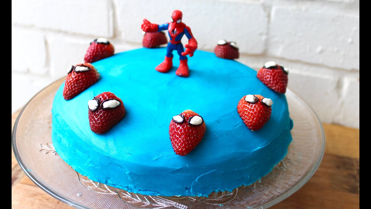 Easy birthday cake idea How to make a Spiderman cake YouTube