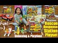 Toy Cars, Toy Trucks! Fire Trucks and Fire Station Playset. TONKA Tinys Ultimate Playset Pack