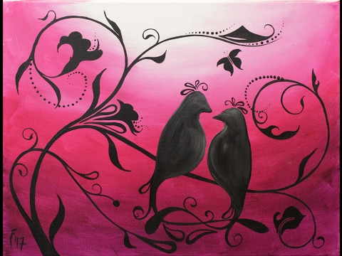 Whimsical Lovebirds Step by Step Acrylic Painting on Canvas for Beginners