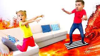 The Floor is Lava with Vita and dad