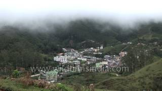 Colourful town hemmed in by rolling hills in Munnar