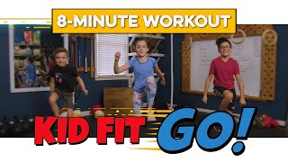 Super fun KID'S Workout! 8-Minute HIIT fitness class for kids. Let's Kid Fit GO!