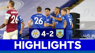All the action from leicester city's 4-2 win over clarets at king power stadium in premier league.