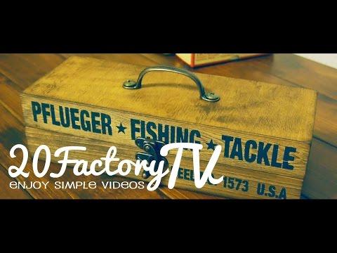 Wood Box. Antique Style. DIY. fishing reel box. 100均DIY. アンティーク風 木製ケース
