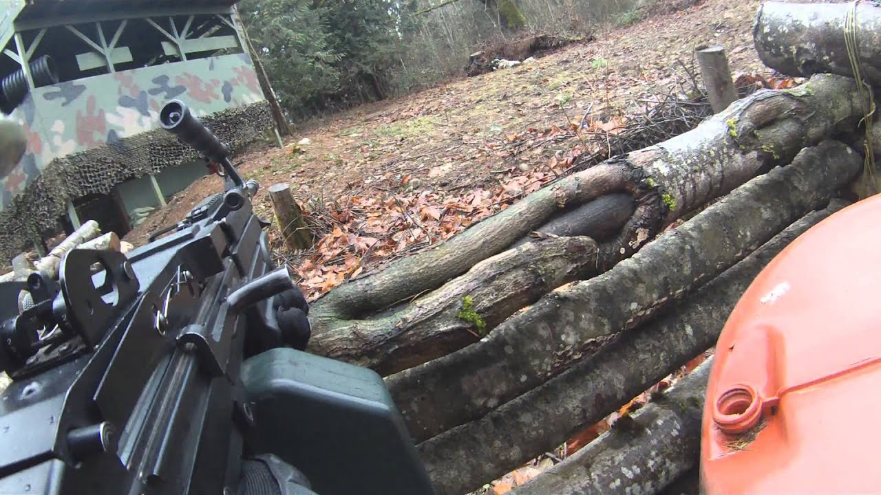 Airsoft M249 SAW First Person Outdoor ACTION! - YouTube