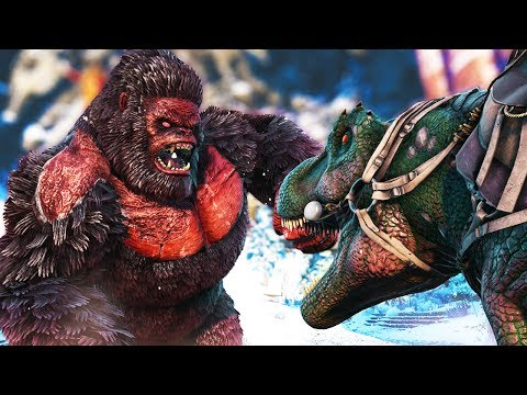 ARK Survival Evolved Ep #54 - AN ARMY OF TREX's vs THE ALPHA MEGAPITHECUS! (Modded Survival)