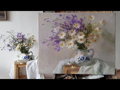 Полевые цветы. Живопись маслом.