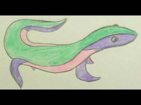 Как нарисовать необычную ящерицу