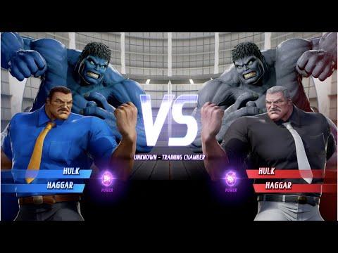 Blue Hulk And Haggar Vs Grey Hulk And Haggar - MARVEL VS. CAPCOM: INFINITE