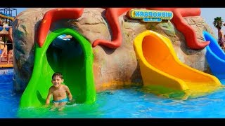 Learn Colors at Water Park * Fun Activities at Swimming Pool with Slides
