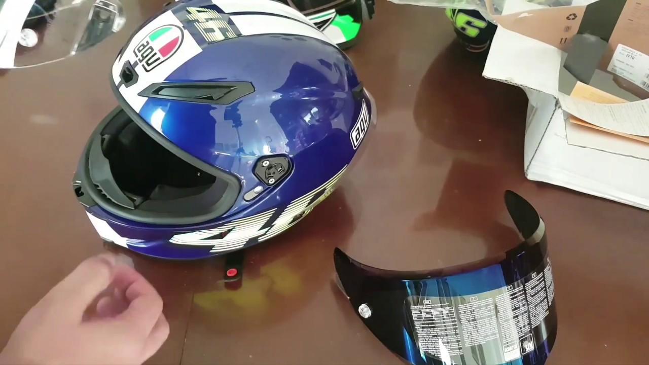 631bf0dc Change Agv Visor Iridium Blue For Corsa R and Pista GP - YouTube