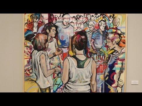VÍDEO: La artista lucentina Pepa Cantero expone sus cuadros en el Palacio de Santa Ana.