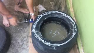 Saco de pancada de pneu colado