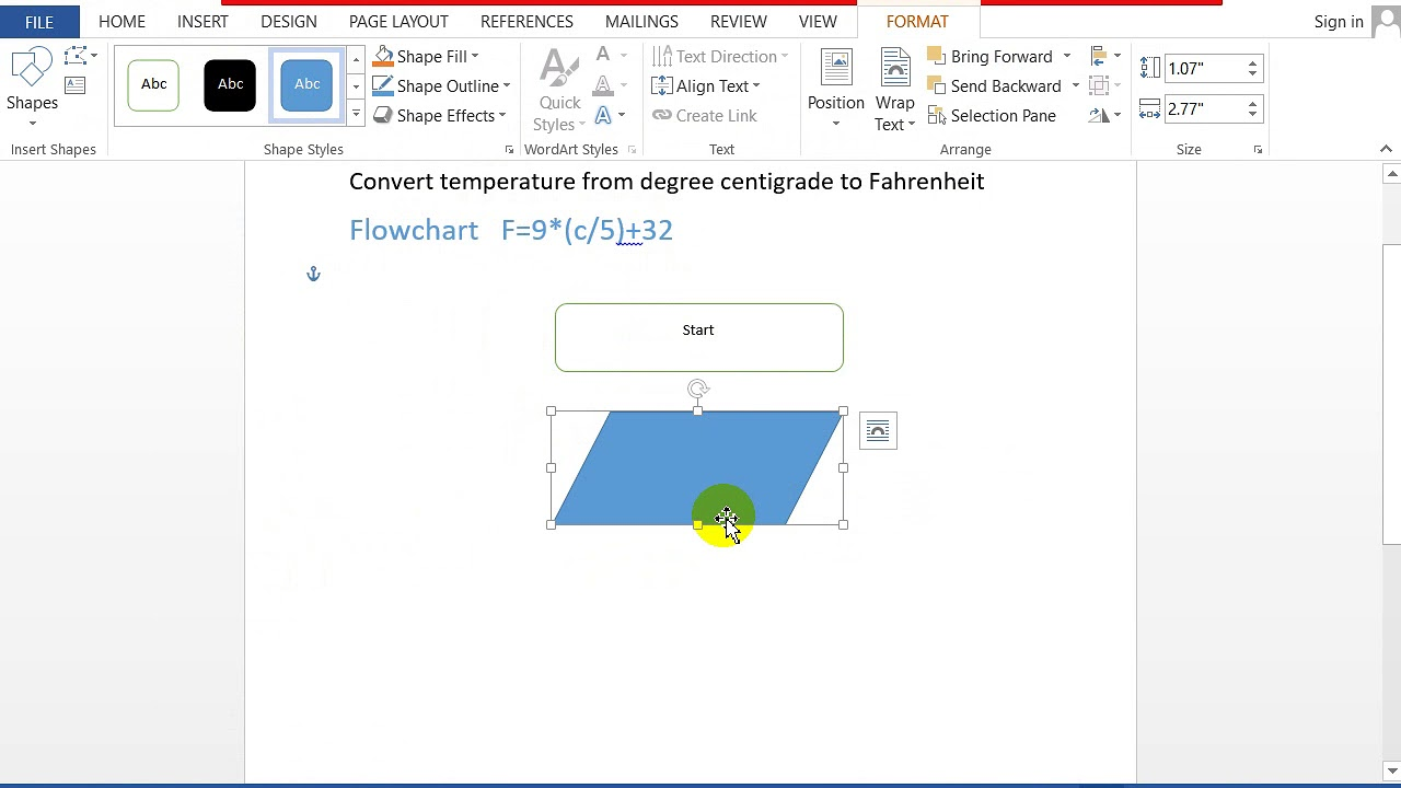 Flowchart For Converting Centigrade To Fahrenheit