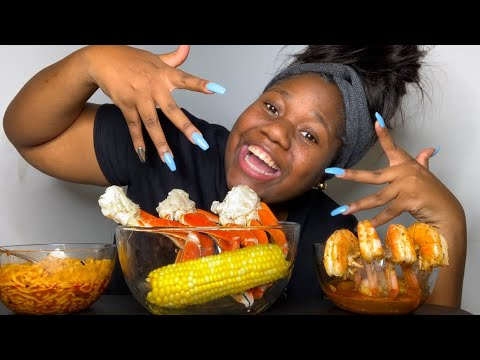 CRAB LEGS & JUMBO SHRIMP & SPICY NOODLES MUKBANG -~EATING SHOW