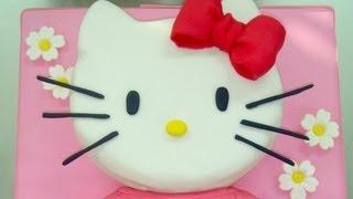 Tarta de Hello Kitty grande. How to make this hello kitty fondant cake. torta