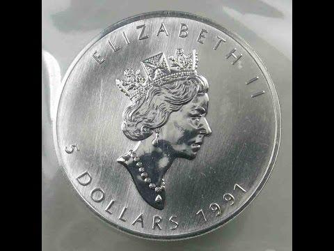 Canada 5 Dollars 1991 Maple Leaf Silver Bullion Coins