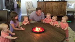 Priceless reaction to daddy blowing the candles out