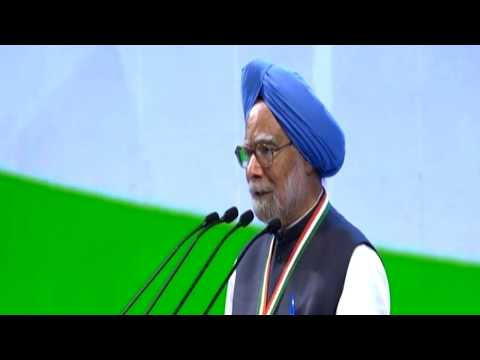 Former Prime Minister Dr Manmohan Singh addresses the Congress Plenary Session