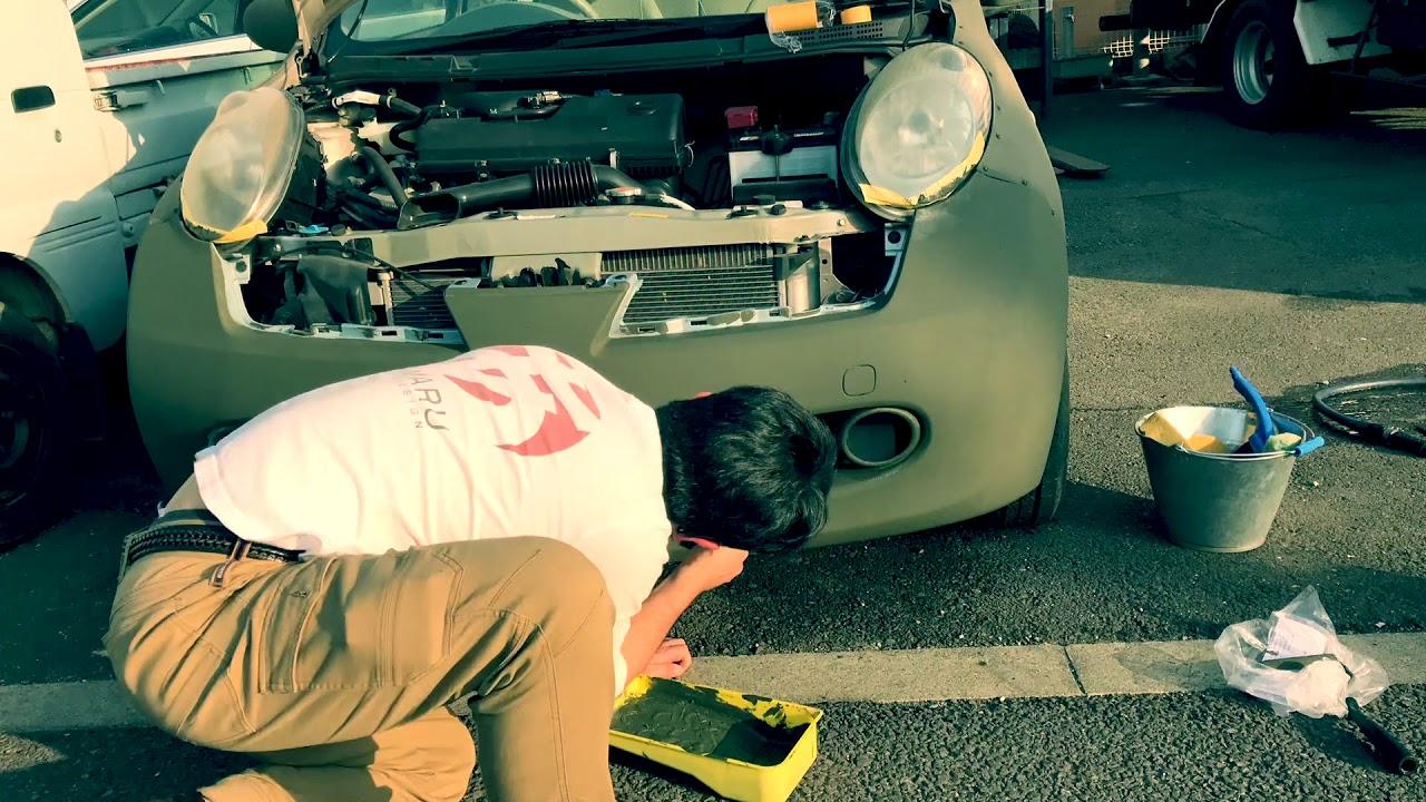 【カスタム動画】日産マーチ・アーミー塗装 戦車仕様のマット塗装! 八王子スニフトレーディング