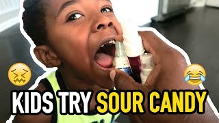 KIDS TRY EXTREMELY SOUR SPRAY CANDY