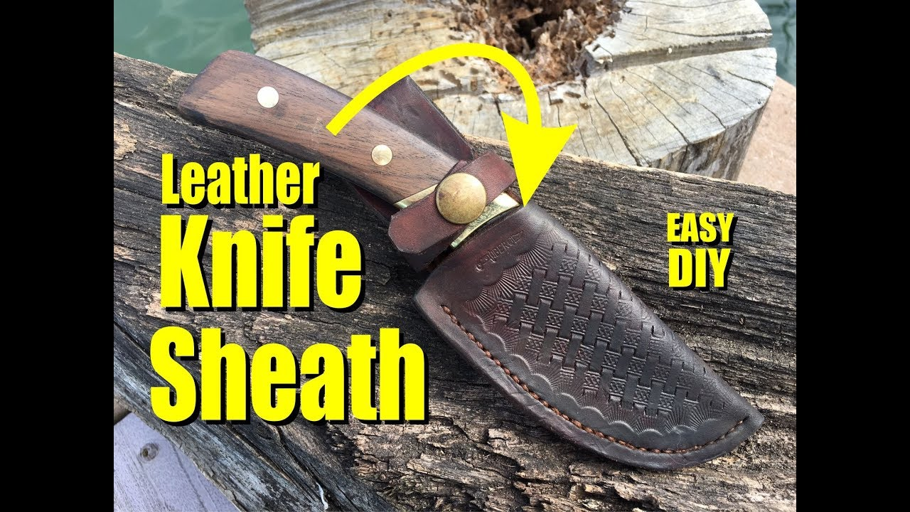 How To Easily Make A Fold Over Leather Knife Sheath With Celtic Basket Weave Pattern Youtube