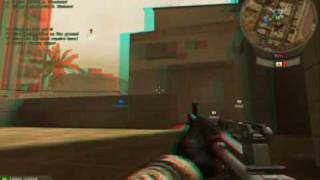 3D gameplay from Battlefield 2 (red/blue glasses)
