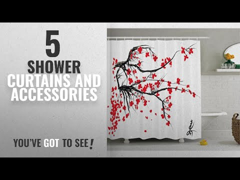 Top 10 Shower Curtains And Accessories [2018]: House Decor Shower Curtain Set by Ambesonne, Sakura