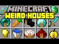 Minecraft WEIRD HOUSES MOD! | INSTANTLY SPAWN YOUTUBERS AND FAMOUS HOUSES! | Modded Mini-Game