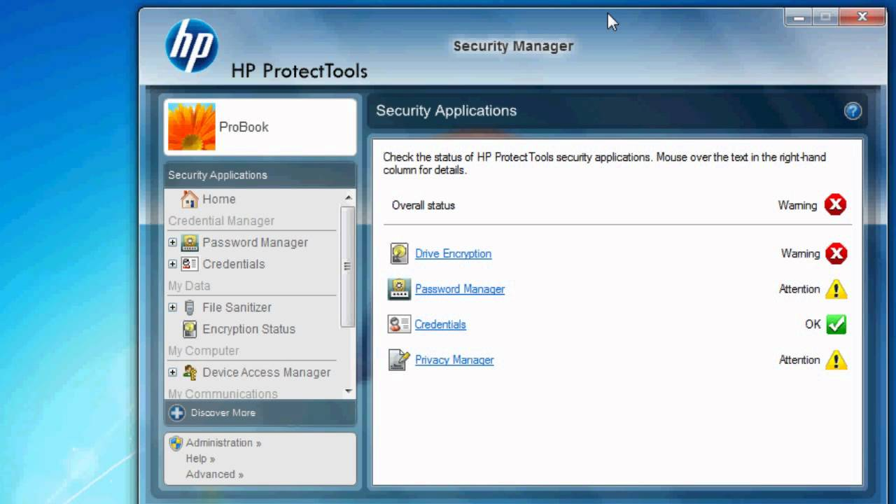 HP PROTECTTOOLS EMBEDDED SECURITY DRIVERS FOR WINDOWS VISTA